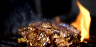 Flame grilled burger at the Good Food Kitchen